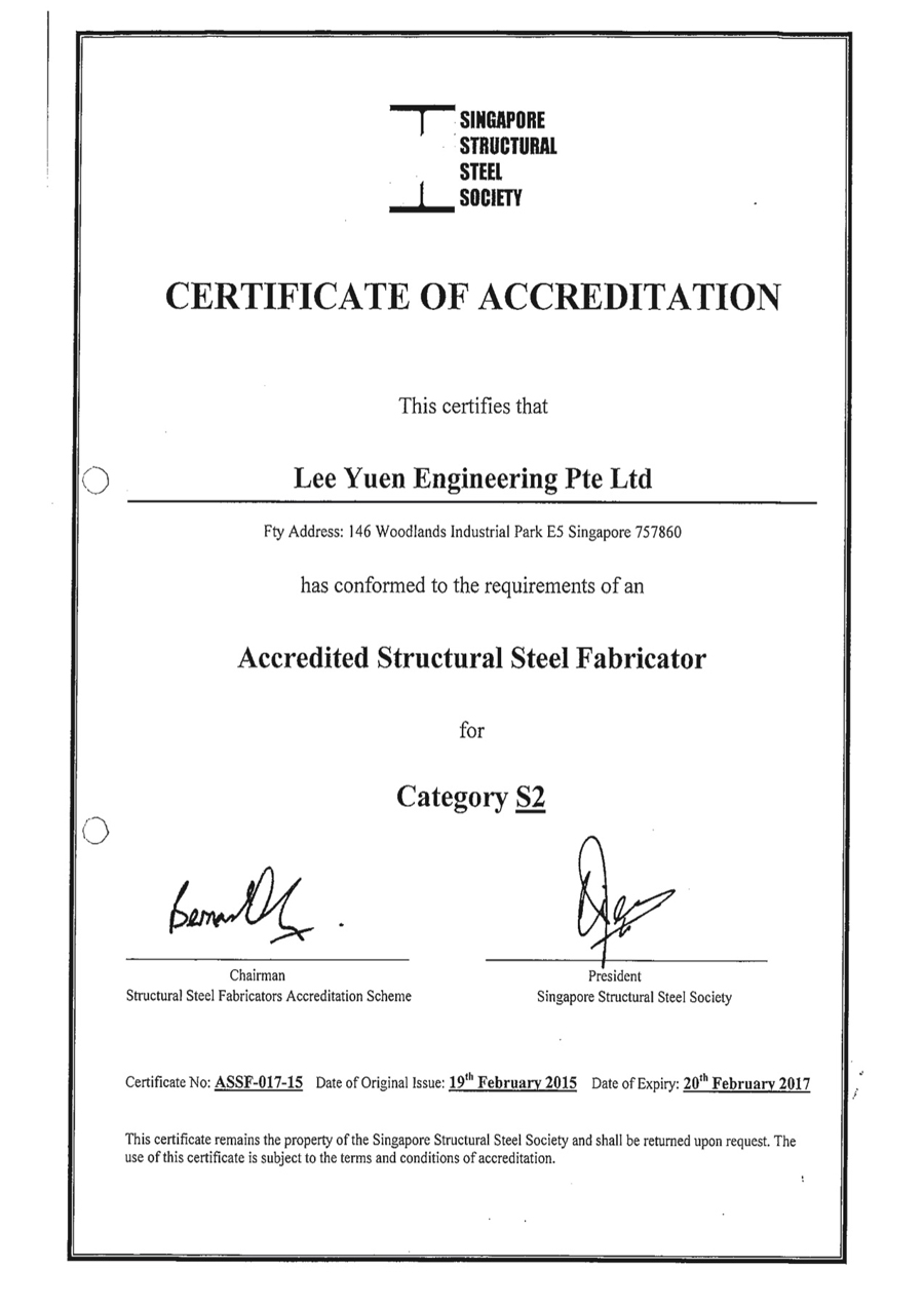 Certification Accreditation Lee Yuen Engineering Pte Ltd